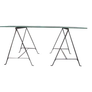 French Mid-Century Modern Hammered Iron Desk / Sofa Table Base, Giacometti, 1930