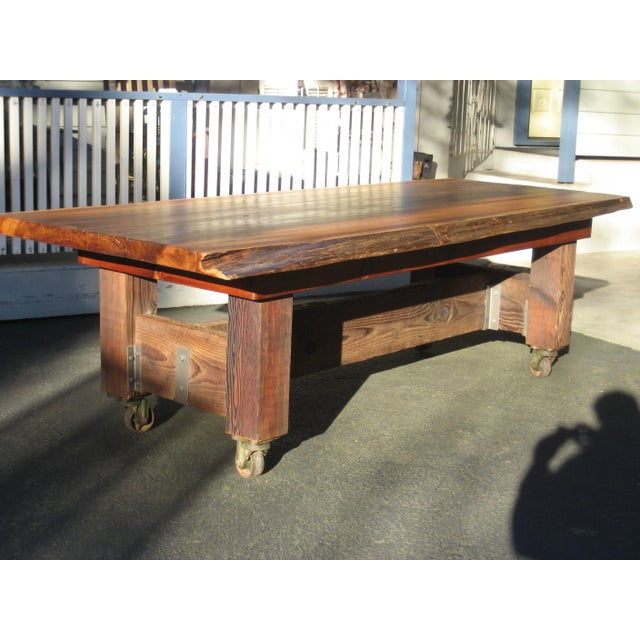 Hand Crafted Live Edge Red Cedar Slab Table For Sale - Image 10 of 10