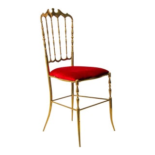 Polished Brass Chiavari Chairs with Red Velvet, Italy, 1960s For Sale