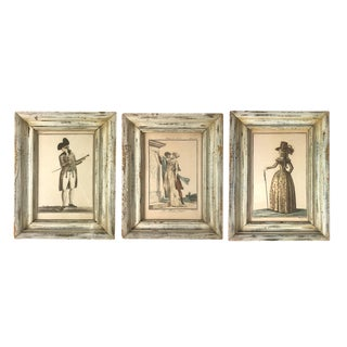 Set of 3 of 18th Century Hand-Colored French Costume Prints - Framed For Sale