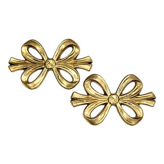 Midcentury French Giltwood Wall Bows, a Pair