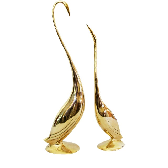 Vintage Solid Brass Egret Statues - Pair - Image 1 of 5