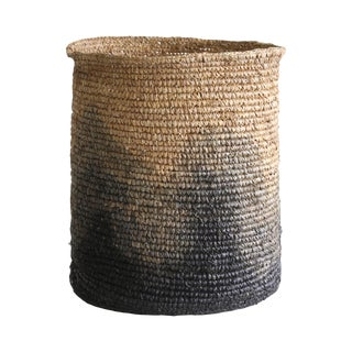 Boho Chic Blue and Black Ombre Basket For Sale