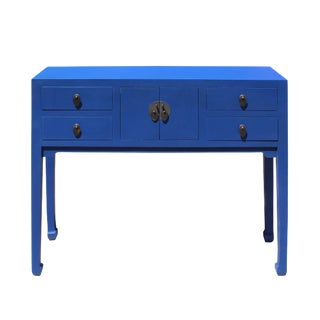 Chinese Oriental Rustic Bright Blue Lacquer Drawers Side Table For Sale