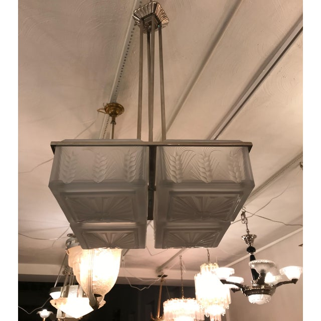 Art Deco French Art Deco Chandelier by Hettier and Vincent For Sale - Image 3 of 12