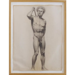 Male Nude Study Pencil Drawing by Carl T. Pfeufer For Sale