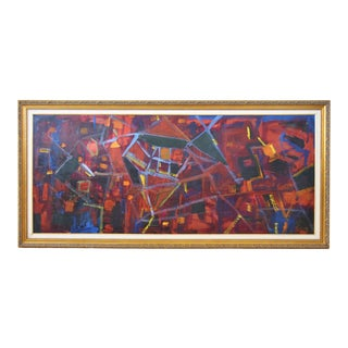Juan Pepe Guzman Colorful Abstract Modernistic Painting For Sale