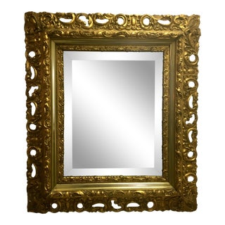 Turn of the Century Baroque-Style Gilt Wooden Mirror For Sale
