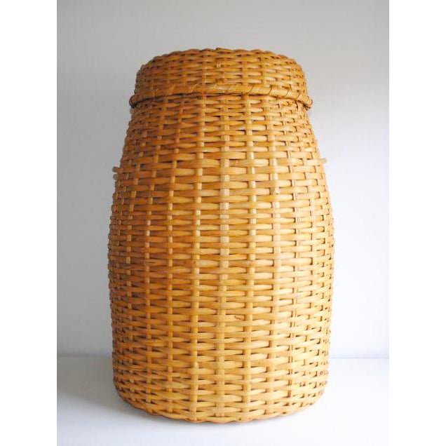 Large Rattan Standing Basket - Image 3 of 5