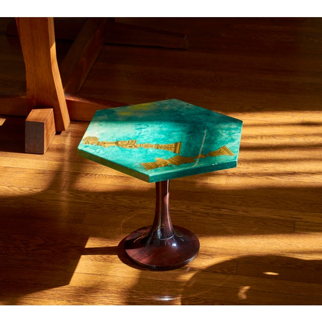 Aldo Tura 1950's Aldo Tura Hexagonal Side Table For Sale - Image 4 of 11