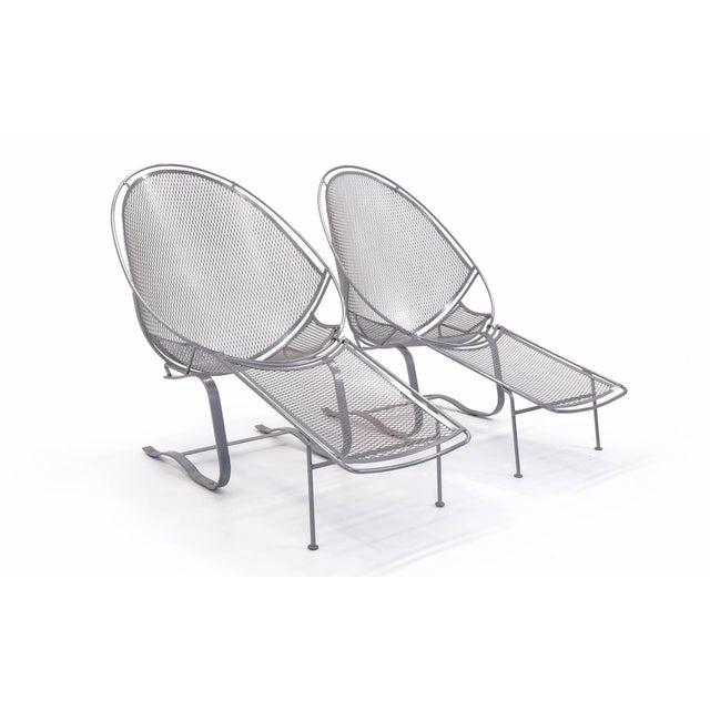 Four available. This listing is for two (one pair). Outdoor or pool high back lounge chairs on Springer base, with...