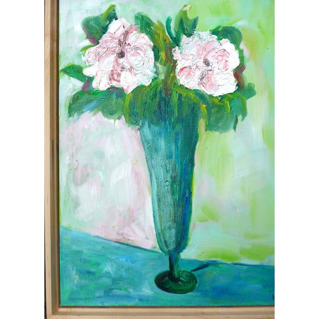 Impressionist Two French Roses on Green Contemporary Oil Painting For Sale In Los Angeles - Image 6 of 8