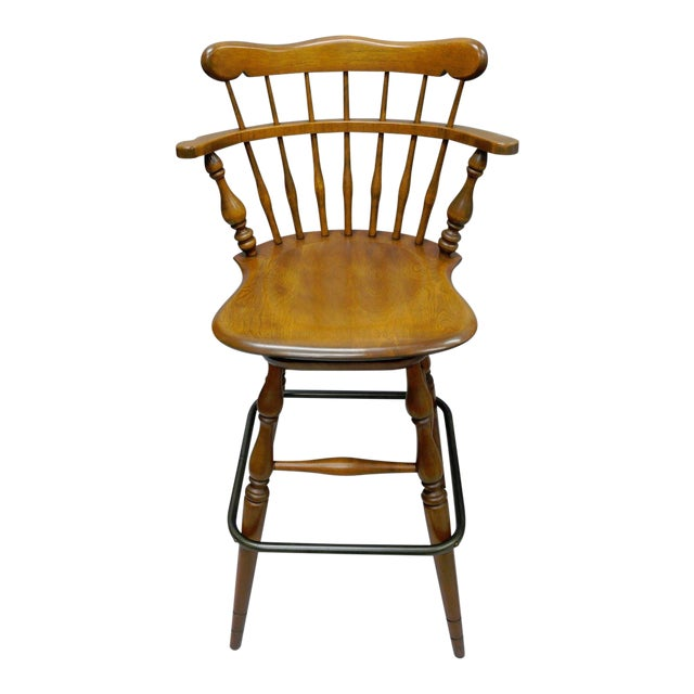 Ethan Allen Heirloom Nutmeg Maple Birch Wood Swivel Bar Stool Chair 10 6095 A