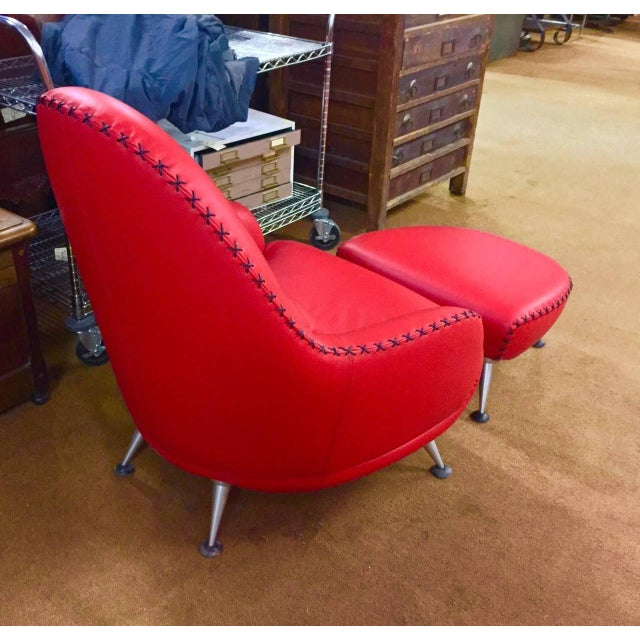 A beautifully designed chair and ottoman by Mathias Hoffmann for De Sede of Switzerland. This beautifully made chair...