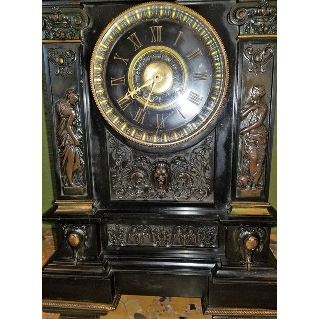 19th Century French Slate & Bronze Clock by Marti For Sale - Image 10 of 13