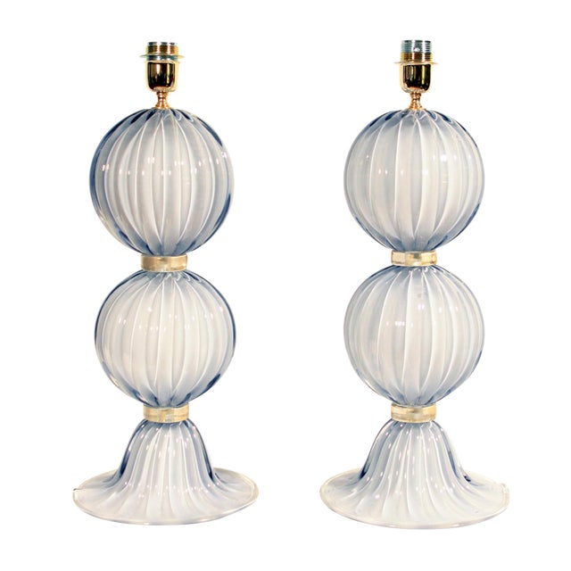 Alberto Dona Murano Globe Table Lamps - A Pair For Sale