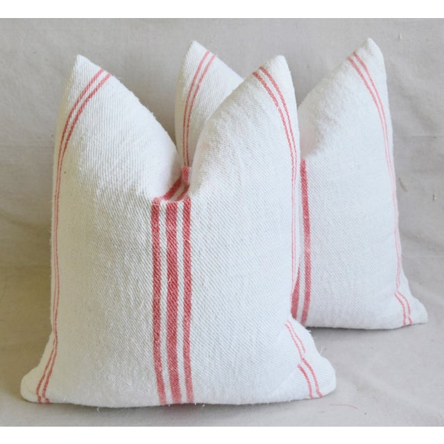"""French Homespun Rose/Pink Striped Grain Sack Feather/Down Pillows 19"""" X 21"""" - Pair For Sale - Image 9 of 13"""