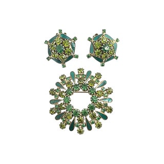 Weiss Rhinestone Earrings & Brooch For Sale