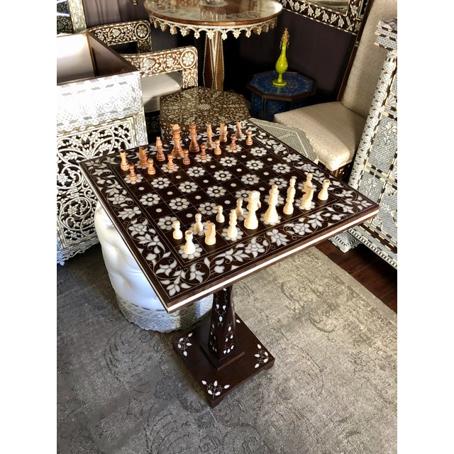 2000 - 2009 Mother of Pearl Inlay Chess Board Table For Sale - Image 5 of 10