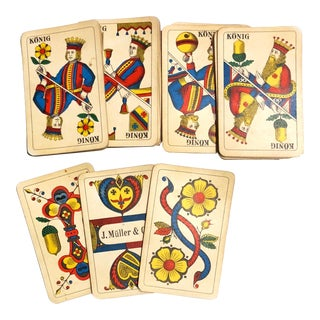 19th Century Art Nouveau Playing Cards and Marquetry Box