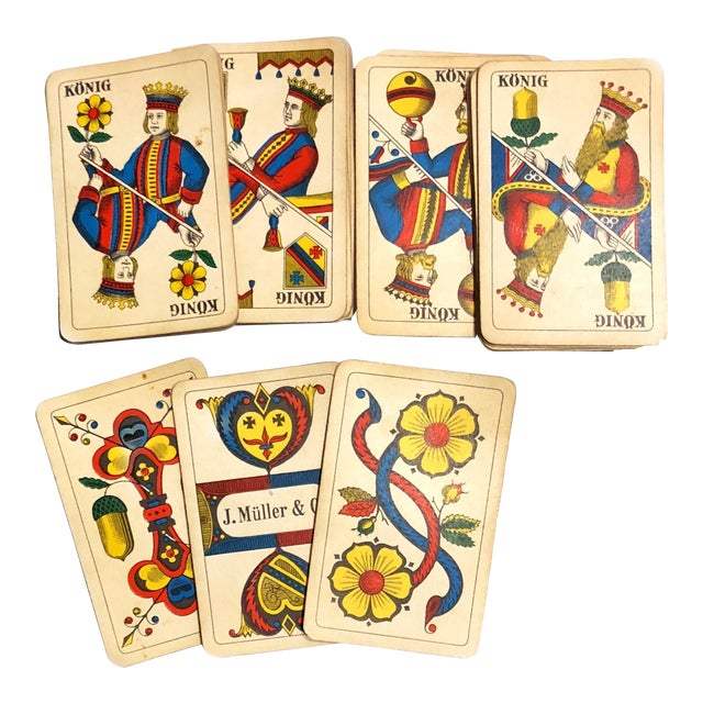 19th Century Art Nouveau Playing Cards and Marquetry Box For Sale