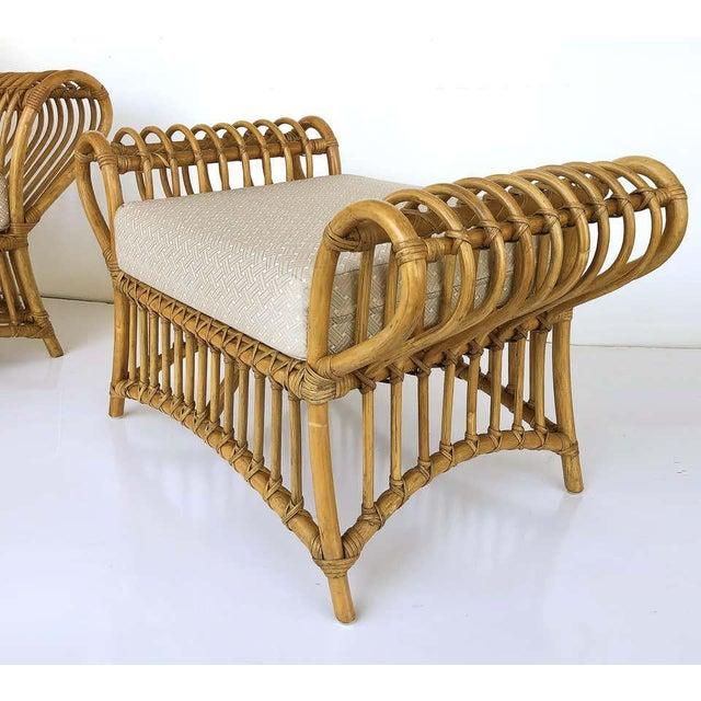1980s Franco Albini Rattan Chair and Ottoman Set For Sale - Image 9 of 12