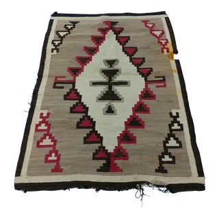"Navajo Hand Woven Wool Saddle Blanket w/Striped pattern c1930s size 41 x 63"" For Sale"
