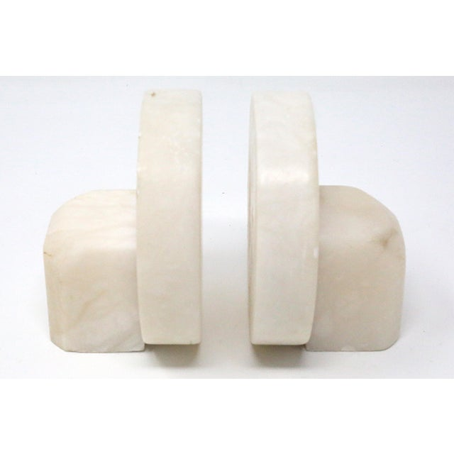 1960s Vintage Mid Century Round Marble Stone Bookends - a Pair For Sale - Image 5 of 7