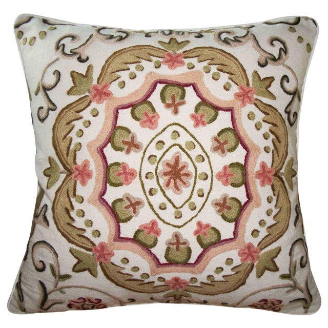 Embroidered Suzani Accent Pillow Cover For Sale