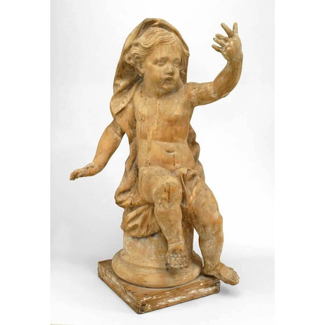 18th Century French Louis XVI Style Stripped Wood Life Size Putti - Set of 4 For Sale - Image 4 of 12