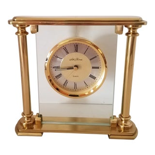 Vintage Seth Thomas Brass and Glass Mantle Clock For Sale