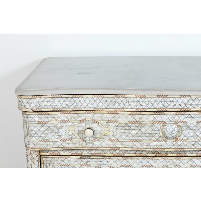 Islamic Mid Century Syrian White Mother-Of-Pearl Inlay Wedding Dresser For Sale - Image 3 of 9