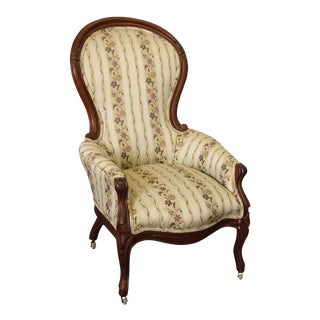 French Queen Anne Floral High Back Chair With Wheels For Sale