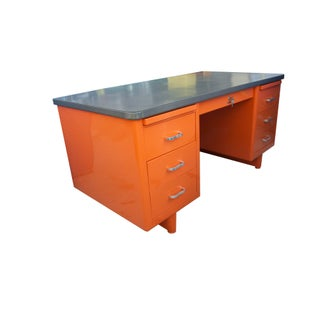 Vintage Mid-Century Modern Orange Steel Tanker Desk Preview