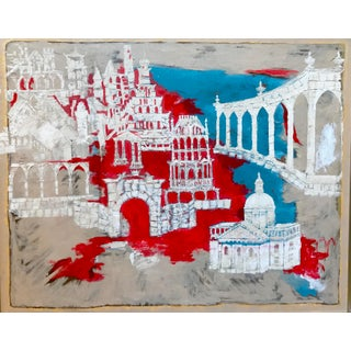 2017 Before the Ruin Abstract Red, Blue, White Mixed-Media Painting For Sale