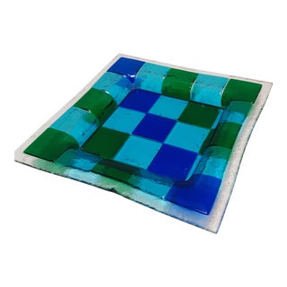 Vintage 1960s Fused Art Glass Decorative Tray For Sale