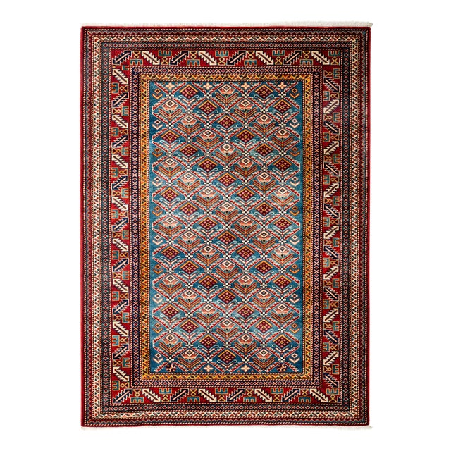 "New Traditional Hand Knotted Area Rug - 4'4"" x 5'10"" - Image 1 of 3"