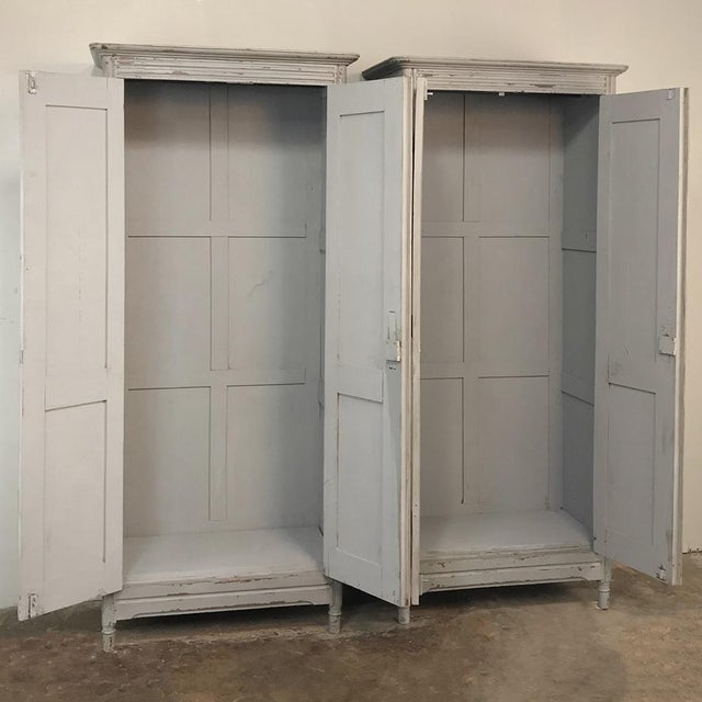 Pair Antique Painted Wooden Locker Cabinets For Sale In Dallas - Image 6 of 13
