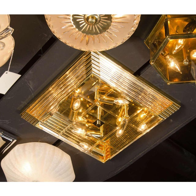Mid-Century Modernist Brass and Glass Rod Square Flush Mount Chandelier For Sale In New York - Image 6 of 7