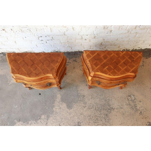Inlaid Italian Bombay Chest Nightstands - a Pair For Sale - Image 4 of 12