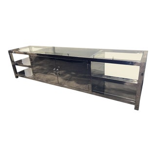 Modern Polished Chrome and Glass Media Cabinet