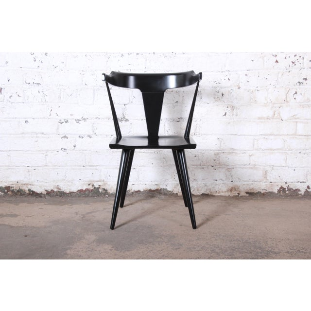 Wood Paul McCobb Planner Group T-Back Black Lacquered Solid Maple Dining Chairs, Set of Eight For Sale - Image 7 of 13