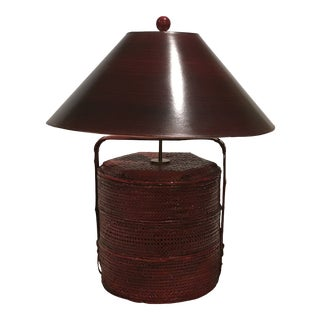 Rice Basket Lamp With Shade For Sale