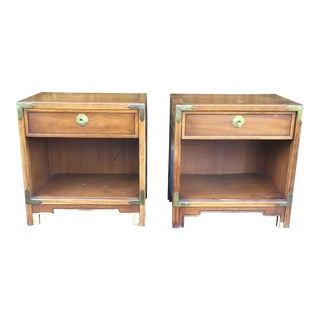 1960's Mid Century Modern Campaign Nightstands-a Pair For Sale