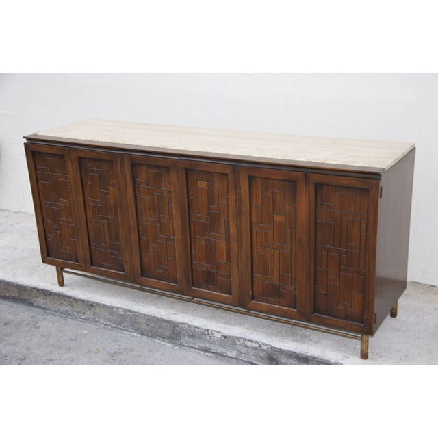 Johnson Furniture Mid-Century Patchwork Credenza For Sale - Image 7 of 7
