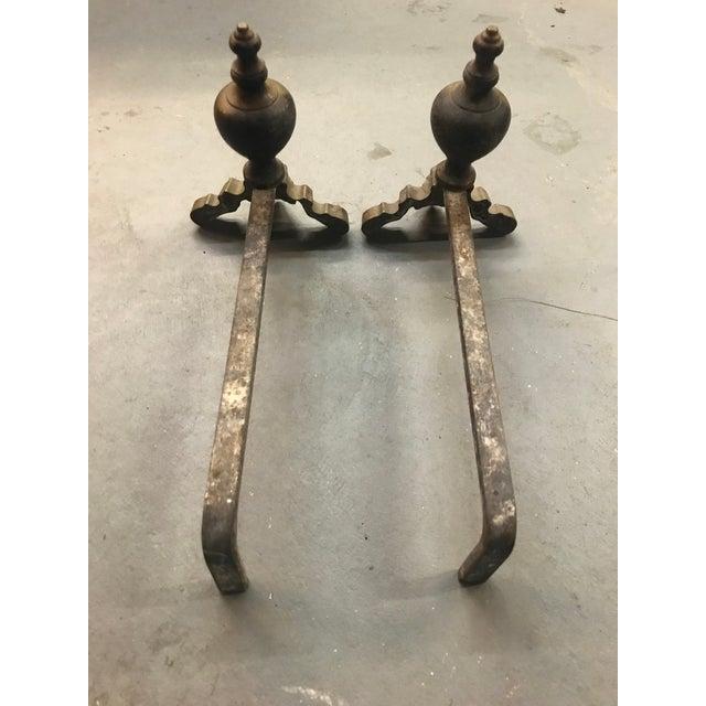 Rococo Brass Rococo Cherub Andirons - a Pair For Sale - Image 3 of 5