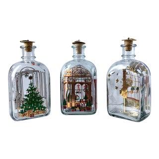 1980s Vintage Holmegaard Christmas Bottles by Michael Bang & Jette Frölich - Set of 3 For Sale