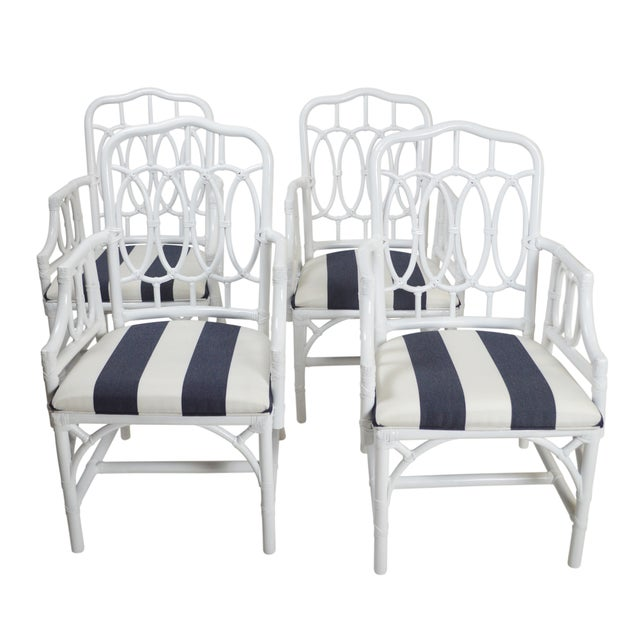 Vintage White Lacquer Rattan Armchairs - Set of 4 For Sale