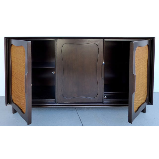 Lacquered 50's Credenza With Woven Cane Doors - Image 5 of 10
