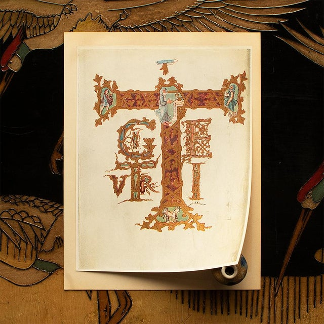 1949 Letter T From Dragon's Sacramentary, First Edition Vintage Gold Ink Lithograph For Sale - Image 4 of 9